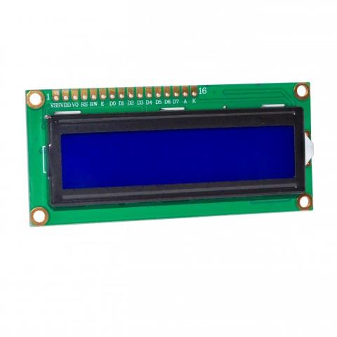 Sinise taustaga LCD ekraan 16x2 tähemärgiga
