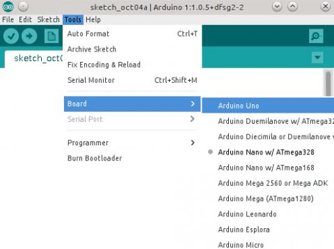 Arduino IDE- Arduino UNO arendusplaadi valimine