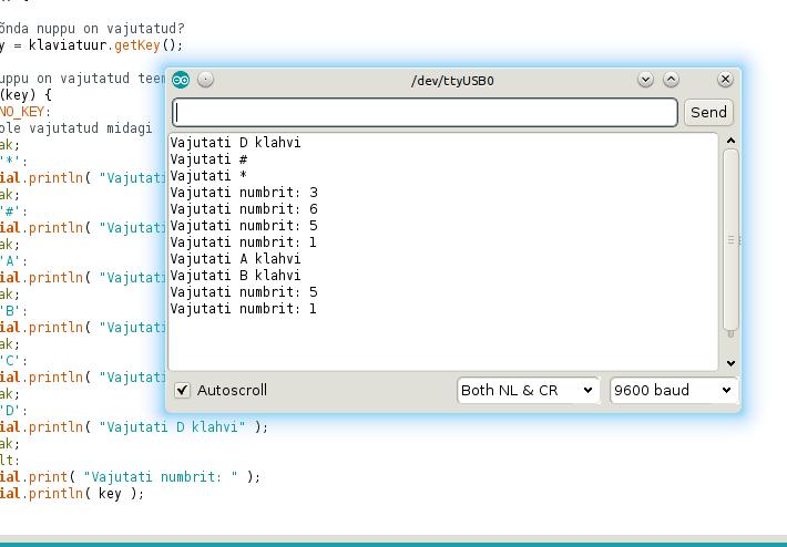 Maatriks klaviatuuri (4x4) terminali valjund kasutades näidiskoodi