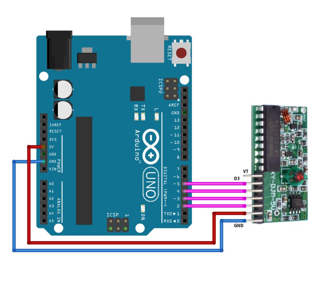 4 nupuga puldi vastuvõtja mooduli ühendamine Arduino külge