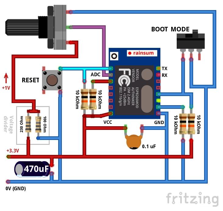 Esp8266 programmeerimine, skeem potentsiomeetriga
